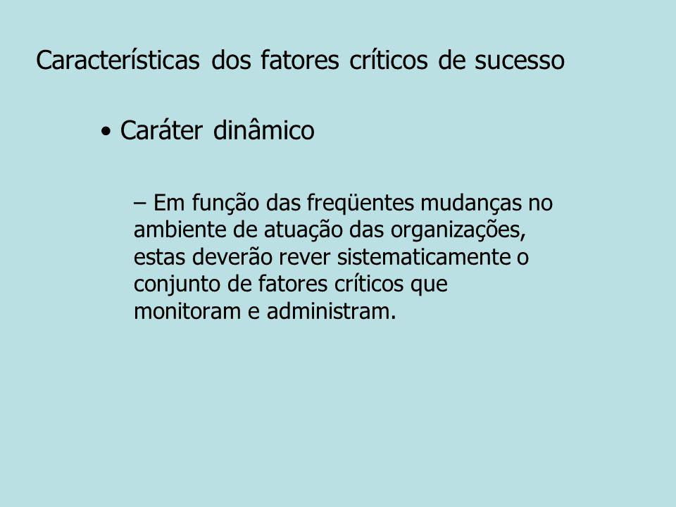 Características dos fatores críticos de sucesso Caráter dinâmico – Em função das freqüentes mudanças no ambiente de atuação das organizações, estas de