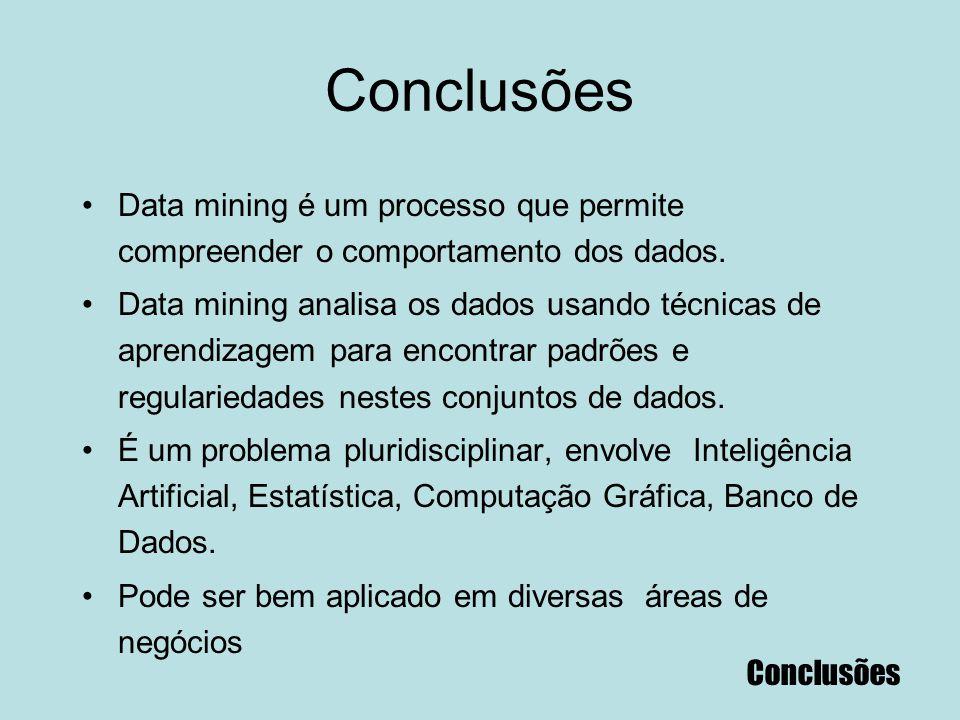91 Conclusões Data mining é um processo que permite compreender o comportamento dos dados. Data mining analisa os dados usando técnicas de aprendizage