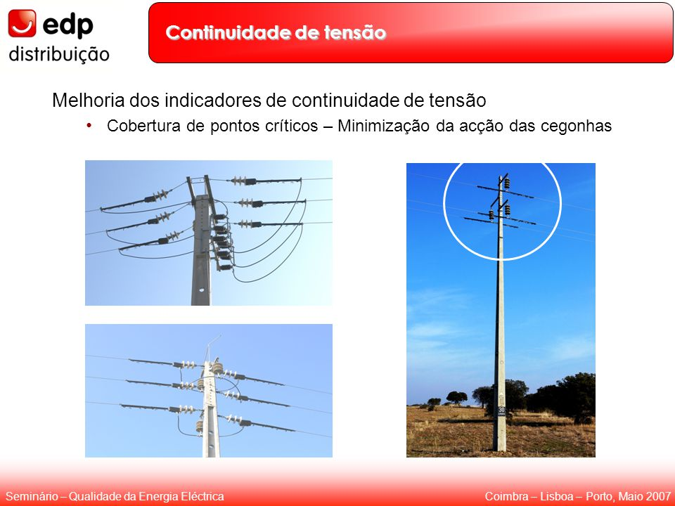 Coimbra – Lisboa – Porto, Maio 2007Seminário – Qualidade da Energia Eléctrica Continuidade de tensão Melhoria dos indicadores de continuidade de tensã