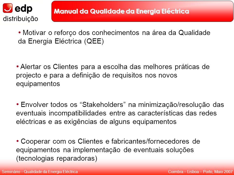 Coimbra – Lisboa – Porto, Maio 2007Seminário – Qualidade da Energia Eléctrica Manual da Qualidade da Energia Eléctrica Motivar o reforço dos conhecime