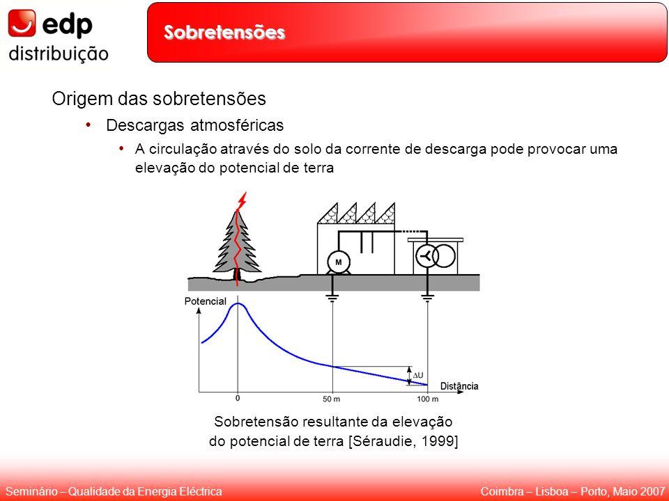 Coimbra – Lisboa – Porto, Maio 2007Seminário – Qualidade da Energia Eléctrica Sobretensões Origem das sobretensões Descargas atmosféricas A circulação