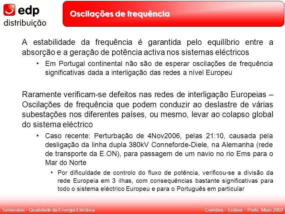 Coimbra – Lisboa – Porto, Maio 2007Seminário – Qualidade da Energia Eléctrica Oscilações de frequência A estabilidade da frequência é garantida pelo e