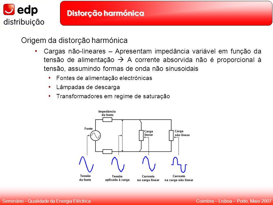 Coimbra – Lisboa – Porto, Maio 2007Seminário – Qualidade da Energia Eléctrica Distorção harmónica Origem da distorção harmónica Cargas não-lineares –