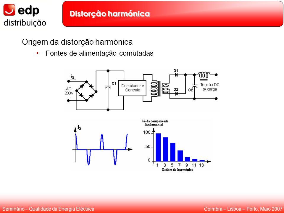 Coimbra – Lisboa – Porto, Maio 2007Seminário – Qualidade da Energia Eléctrica Distorção harmónica Origem da distorção harmónica Fontes de alimentação
