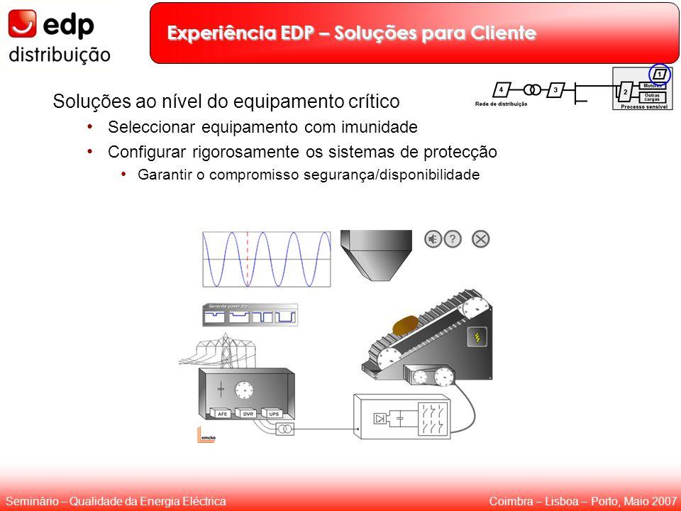 Coimbra – Lisboa – Porto, Maio 2007Seminário – Qualidade da Energia Eléctrica Experiência EDP – Soluções para Cliente Soluções ao nível do equipamento