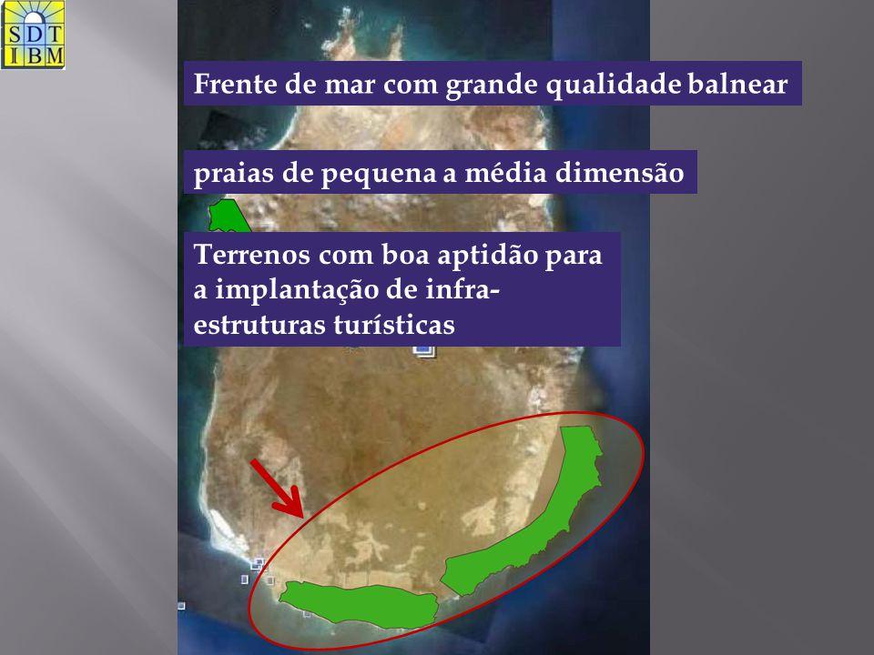 Frente de mar com grande qualidade balnear praias de pequena a média dimensão Terrenos com boa aptidão para a implantação de infra- estruturas turísti
