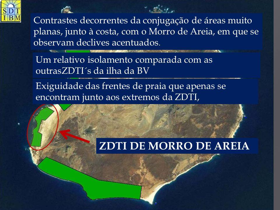 ZDTI DE MORRO DE AREIA Contrastes decorrentes da conjugação de áreas muito planas, junto à costa, com o Morro de Areia, em que se observam declives ac