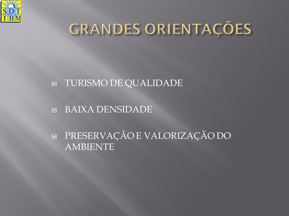 AREA (hectar)770 AMBIENTE/PAISAGEM (hectar)142,95 AREAS DE PROTECÇÃO (hectar)52,8 AREA DESENVOLVIMENTO TURISTICO (hectar)574,25 AREA BRUTA DE CONSTRUÇÃO (m2)440800 COMPONENTE HOTELEIRA25% COMPONENTE IMOBILIARIA71% COMPONENTE SERVIÇOS4% QUARTOS5067