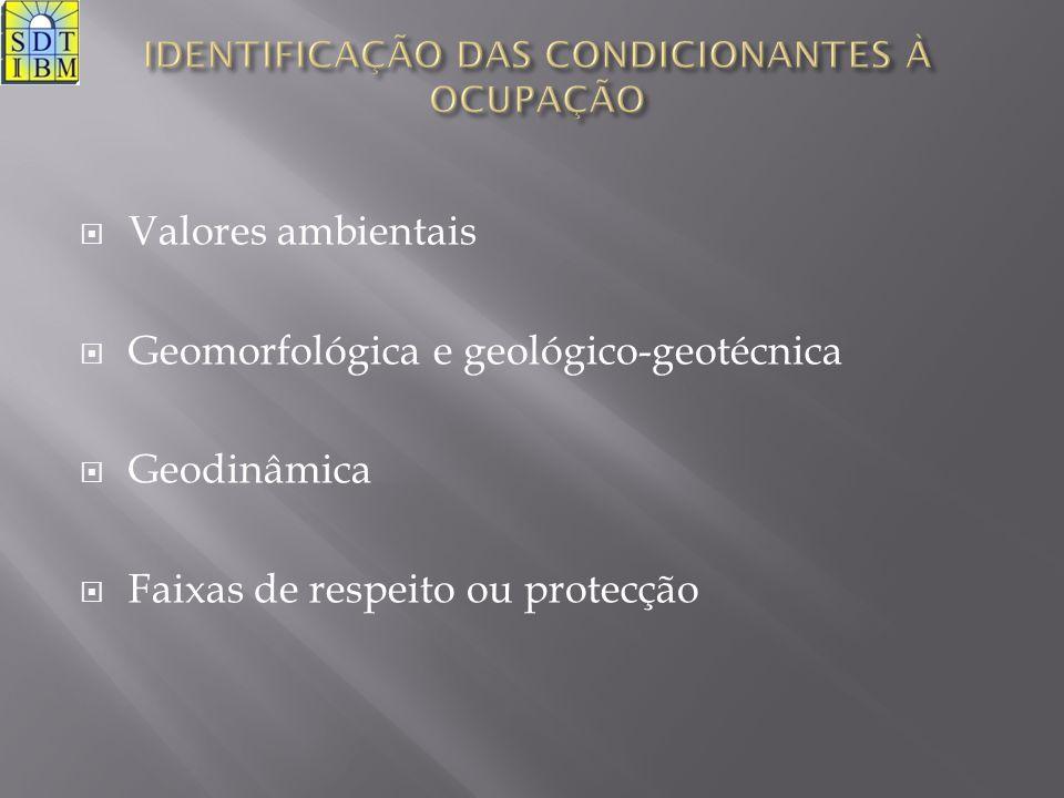  Valores ambientais  Geomorfológica e geológico-geotécnica  Geodinâmica  Faixas de respeito ou protecção