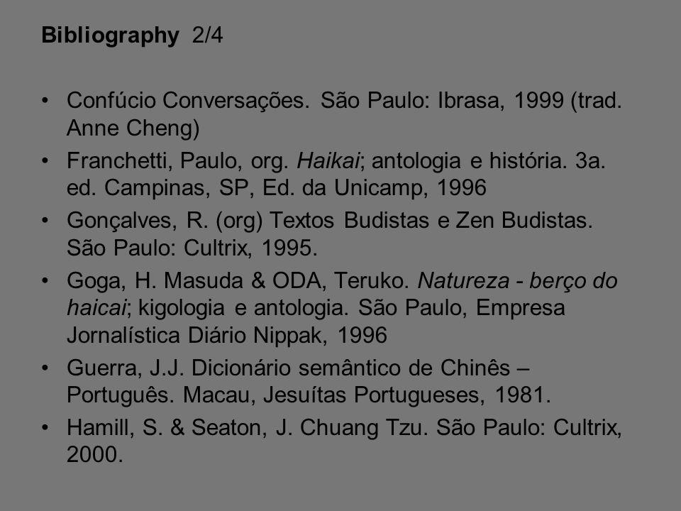 Bibliography 2/4 Confúcio Conversações.São Paulo: Ibrasa, 1999 (trad.