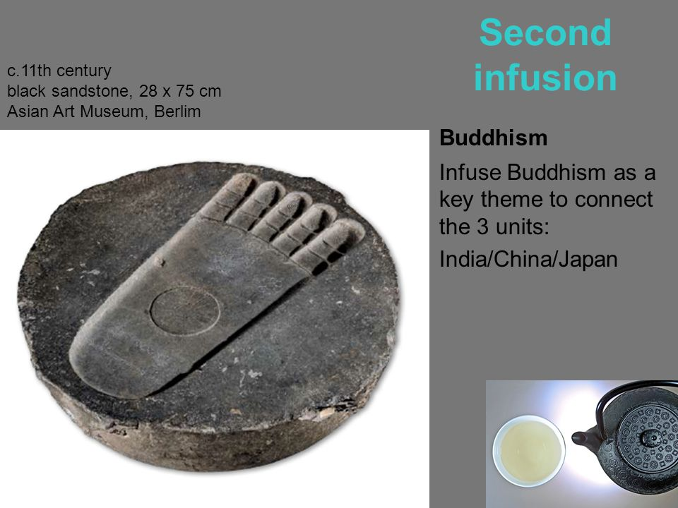in Parallel Second cup of Buddhism Long-term project: Buddhist Art: from the aniconic times until Murakami's Oval Buddha c.11th century black sandstone, 28 x 75 cm Asian Art Museum, Berlim