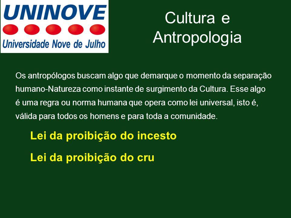 Cultura e Antropologia Os antropólogos buscam algo que demarque o momento da separação humano-Natureza como instante de surgimento da Cultura. Esse al