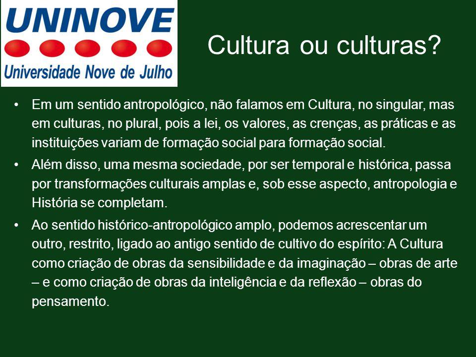 Cultura ou culturas? Em um sentido antropológico, não falamos em Cultura, no singular, mas em culturas, no plural, pois a lei, os valores, as crenças,