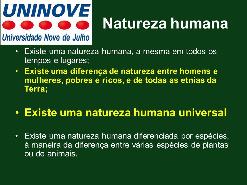 Natureza humana Existe uma natureza humana, a mesma em todos os tempos e lugares; Existe uma diferença de natureza entre homens e mulheres, pobres e r