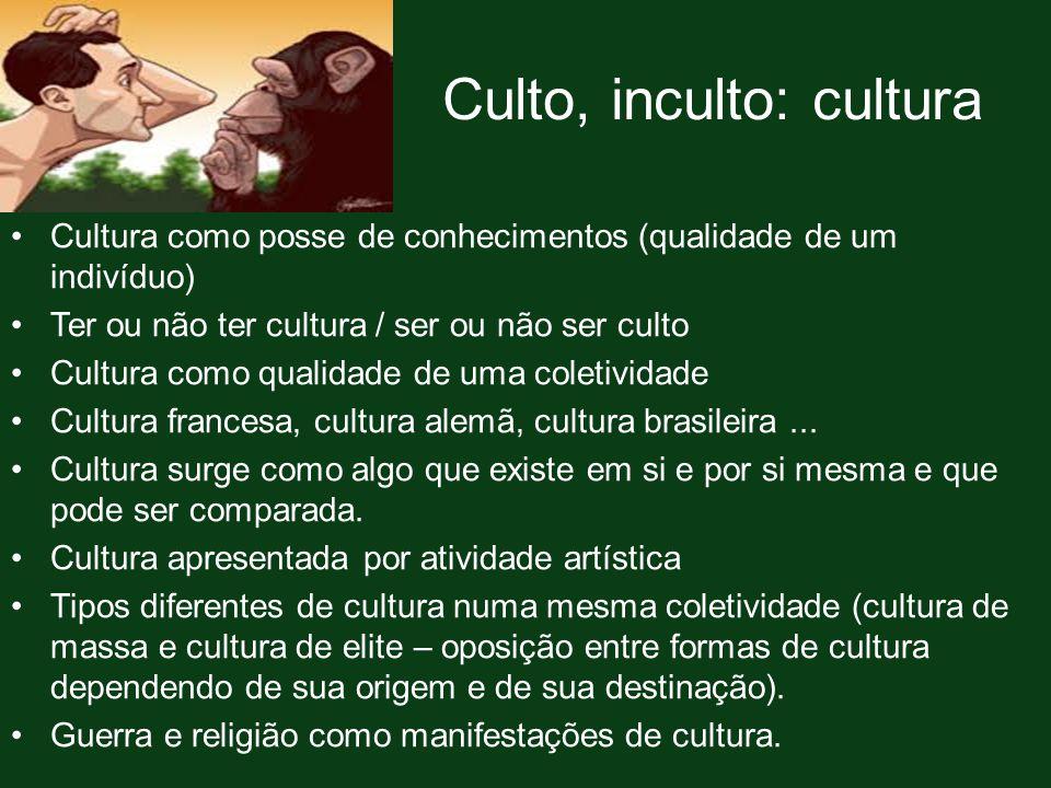 Culto, inculto: cultura Cultura como posse de conhecimentos (qualidade de um indivíduo) Ter ou não ter cultura / ser ou não ser culto Cultura como qua