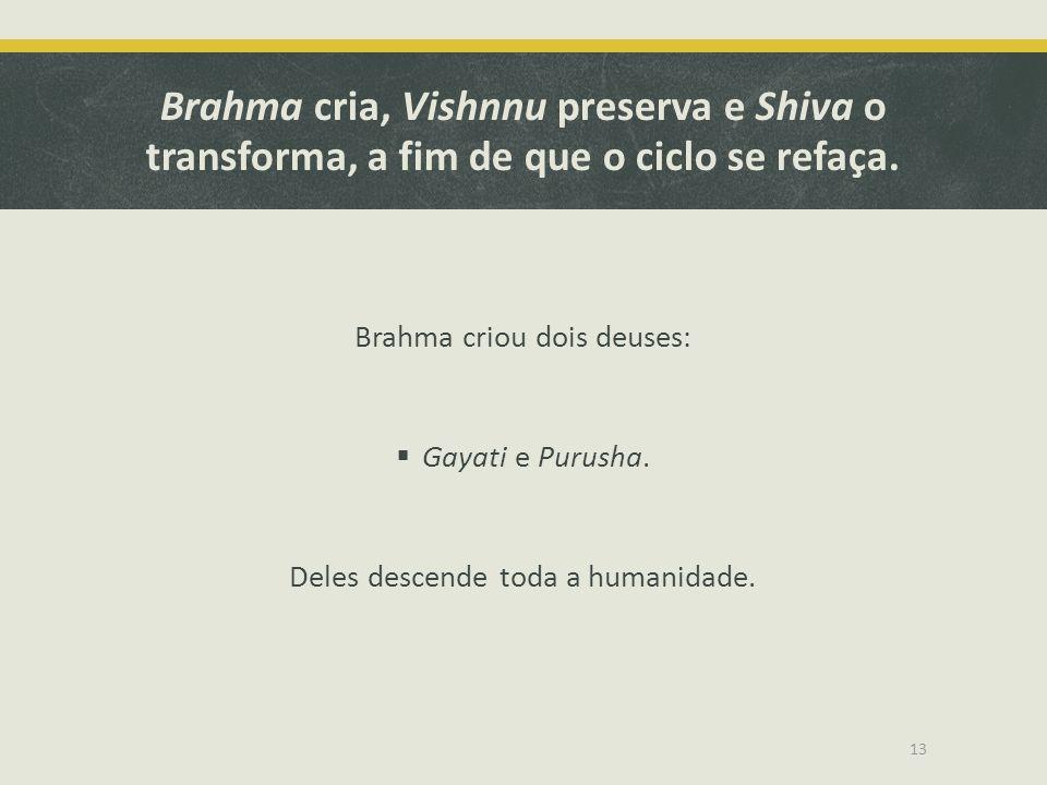 Brahma cria, Vishnnu preserva e Shiva o transforma, a fim de que o ciclo se refaça. Brahma criou dois deuses:  Gayati e Purusha. Deles descende toda