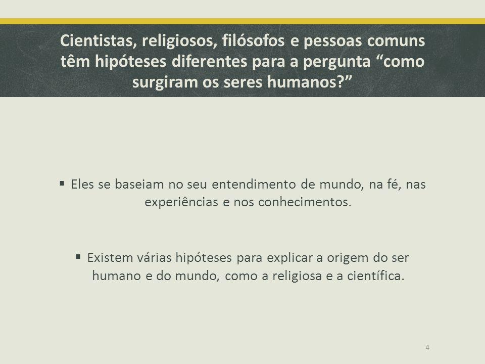 """Cientistas, religiosos, filósofos e pessoas comuns têm hipóteses diferentes para a pergunta """"como surgiram os seres humanos?""""  Eles se baseiam no seu"""
