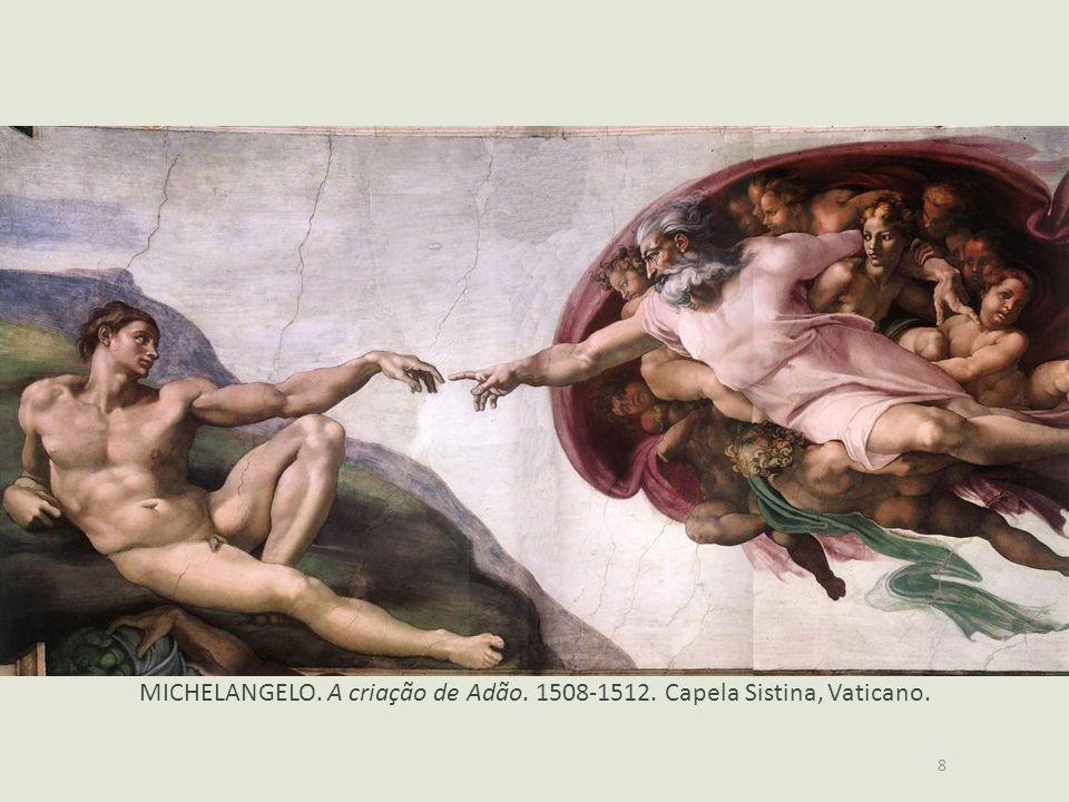 8 MICHELANGELO. A criação de Adão. 1508-1512. Capela Sistina, Vaticano.