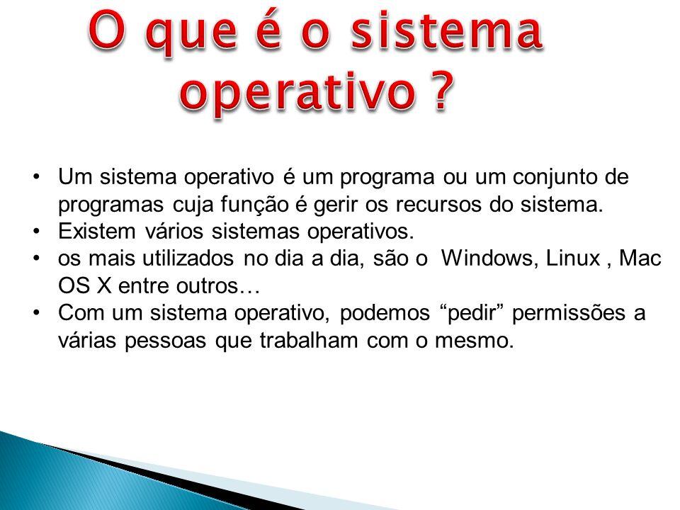 Um sistema operativo é um programa ou um conjunto de programas cuja função é gerir os recursos do sistema.