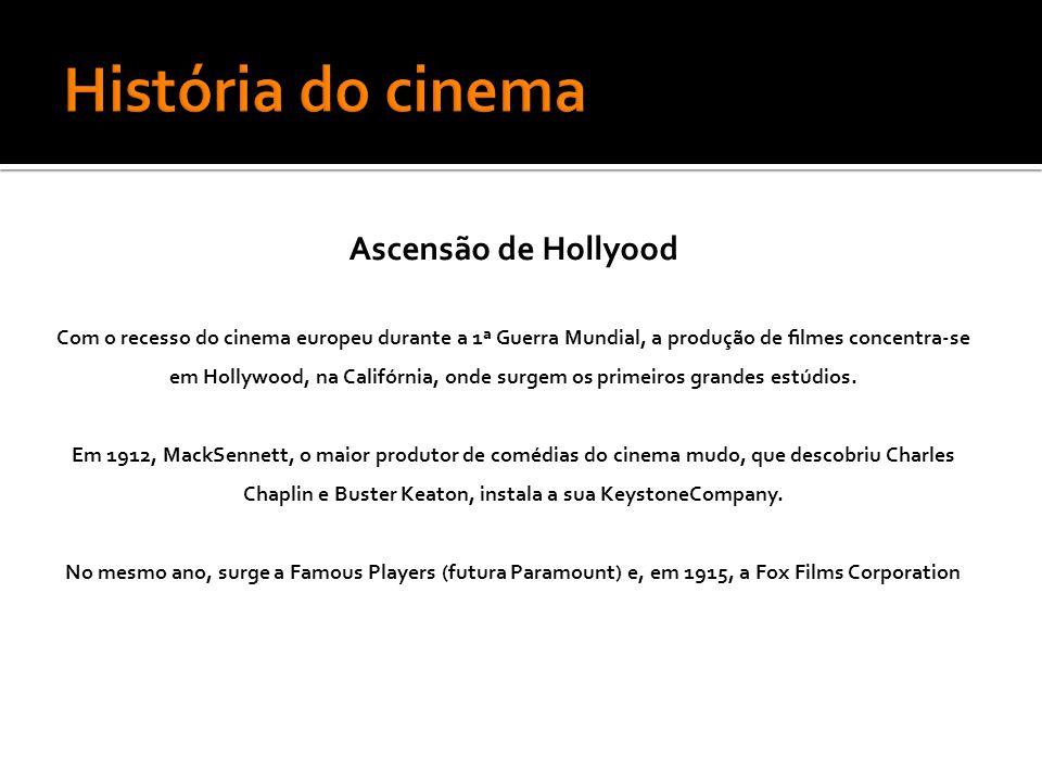 Ascensão de Hollyood Com o recesso do cinema europeu durante a 1ª Guerra Mundial, a produção de filmes concentra-se em Hollywood, na Califórnia, onde surgem os primeiros grandes estúdios.