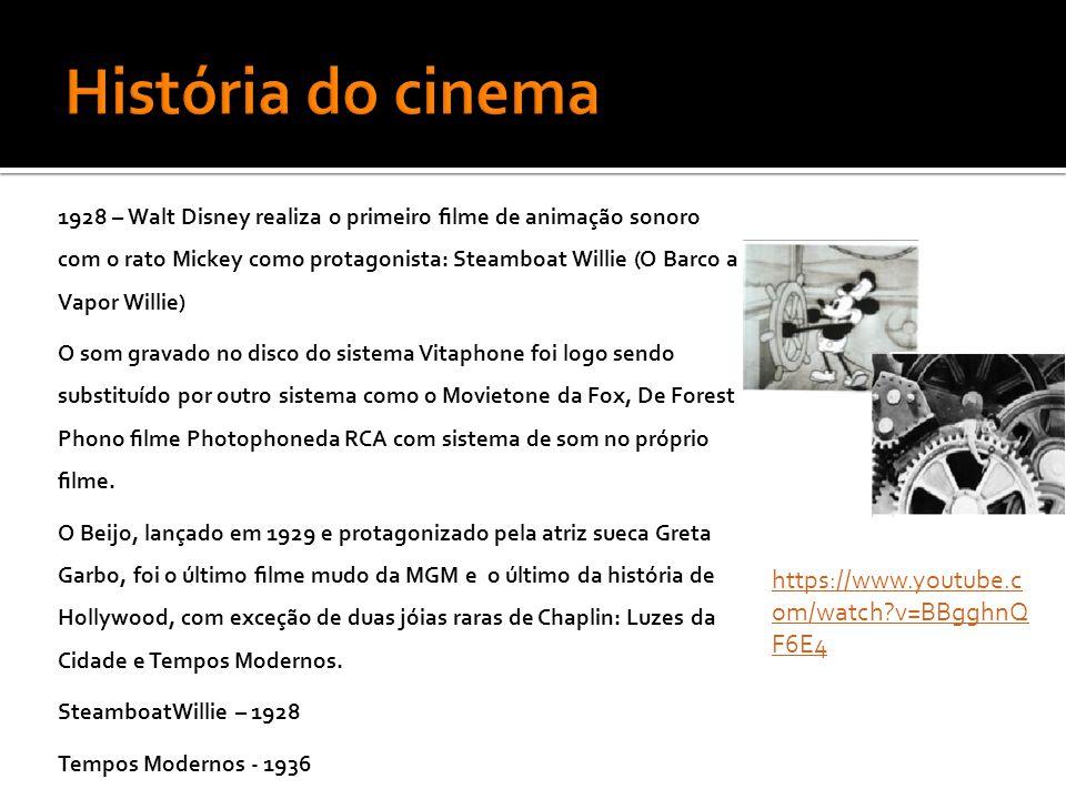 1928 – Walt Disney realiza o primeiro filme de animação sonoro com o rato Mickey como protagonista: Steamboat Willie (O Barco a Vapor Willie) O som gravado no disco do sistema Vitaphone foi logo sendo substituído por outro sistema como o Movietone da Fox, De Forest Phono filme Photophoneda RCA com sistema de som no próprio filme.