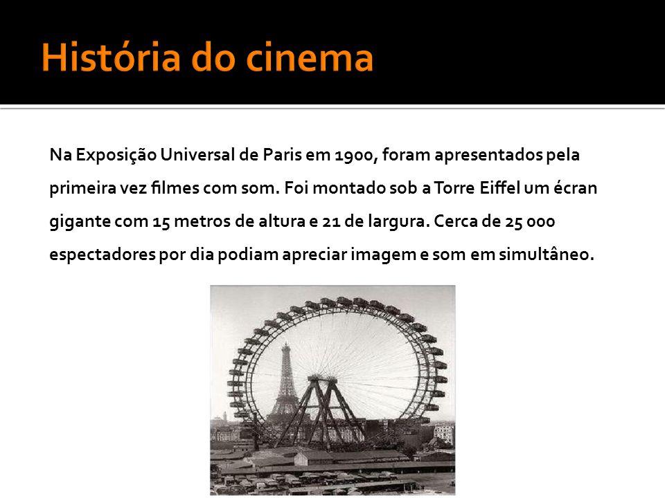 Na Exposição Universal de Paris em 1900, foram apresentados pela primeira vez filmes com som.
