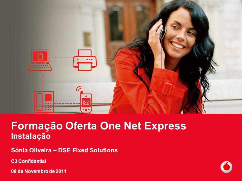 C3 Confidential 11 Formação Oferta One Net Express Instalação Sónia Oliveira – DSE Fixed Solutions C3 Confidential 08 de Novembro de 2011