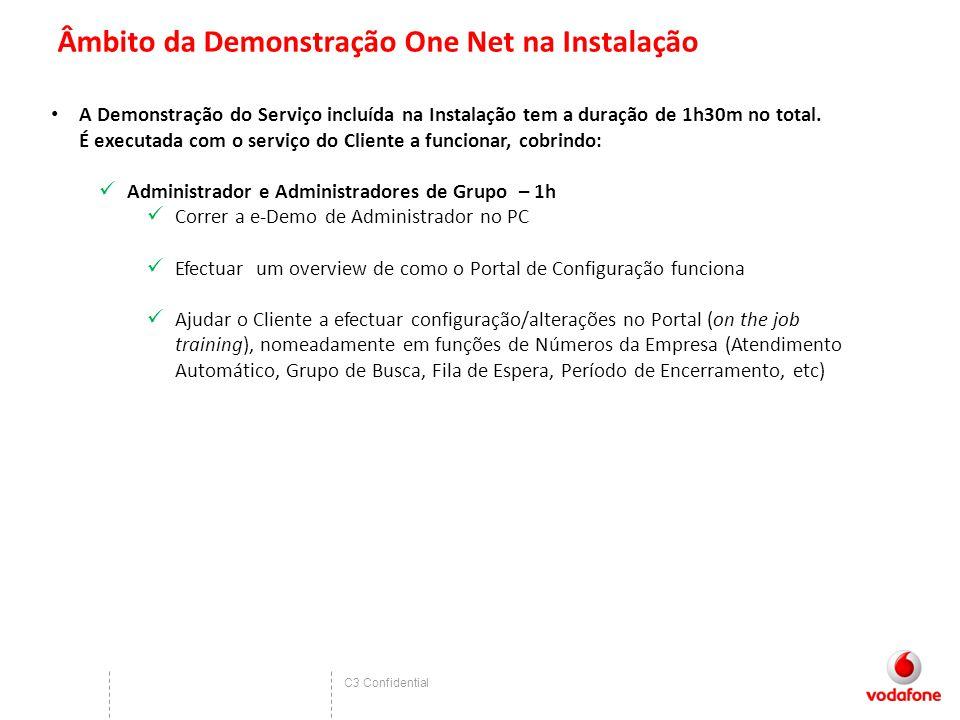 C3 Confidential Âmbito da Demonstração One Net na Instalação A Demonstração do Serviço incluída na Instalação tem a duração de 1h30m no total. É execu