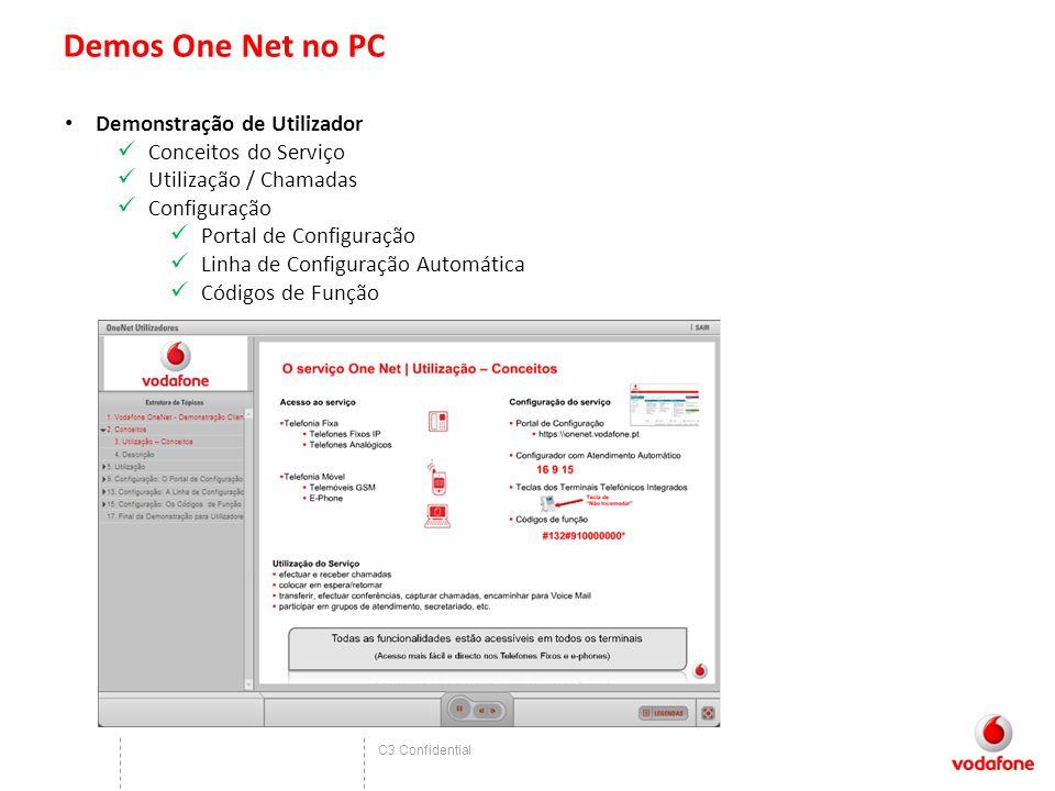 C3 Confidential Demos One Net no PC Demonstração de Utilizador Conceitos do Serviço Utilização / Chamadas Configuração Portal de Configuração Linha de Configuração Automática Códigos de Função