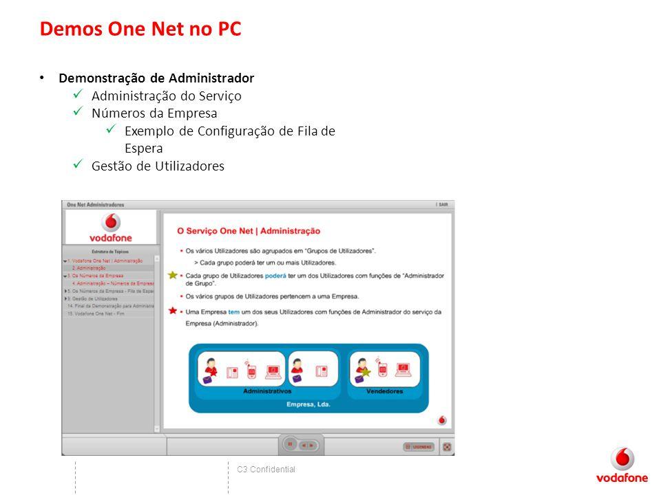C3 Confidential Demos One Net no PC Demonstração de Administrador Administração do Serviço Números da Empresa Exemplo de Configuração de Fila de Espera Gestão de Utilizadores