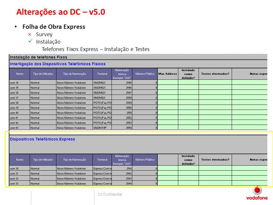 C3 Confidential Alterações ao DC – v5.0 Folha de Obra Express ×Survey Instalação Telefones Fixos Express – Instalação e Testes
