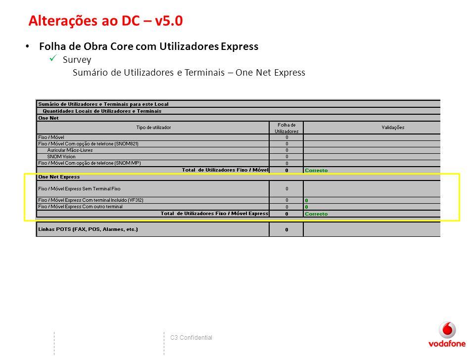 C3 Confidential Alterações ao DC – v5.0 Folha de Obra Core com Utilizadores Express Survey Sumário de Utilizadores e Terminais – One Net Express