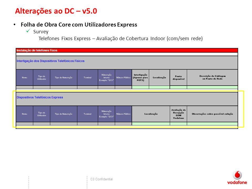 C3 Confidential Alterações ao DC – v5.0 Folha de Obra Core com Utilizadores Express Survey Telefones Fixos Express – Avaliação de Cobertura Indoor (com/sem rede)