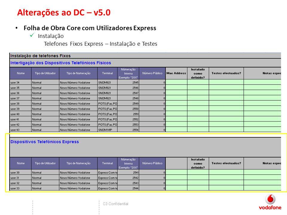 C3 Confidential Alterações ao DC – v5.0 Folha de Obra Core com Utilizadores Express Instalação Telefones Fixos Express – Instalação e Testes