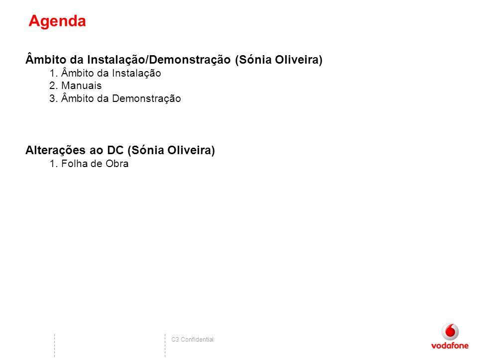C3 Confidential Agenda Âmbito da Instalação/Demonstração (Sónia Oliveira) 1.Âmbito da Instalação 2.Manuais 3.Âmbito da Demonstração Alterações ao DC (Sónia Oliveira) 1.Folha de Obra