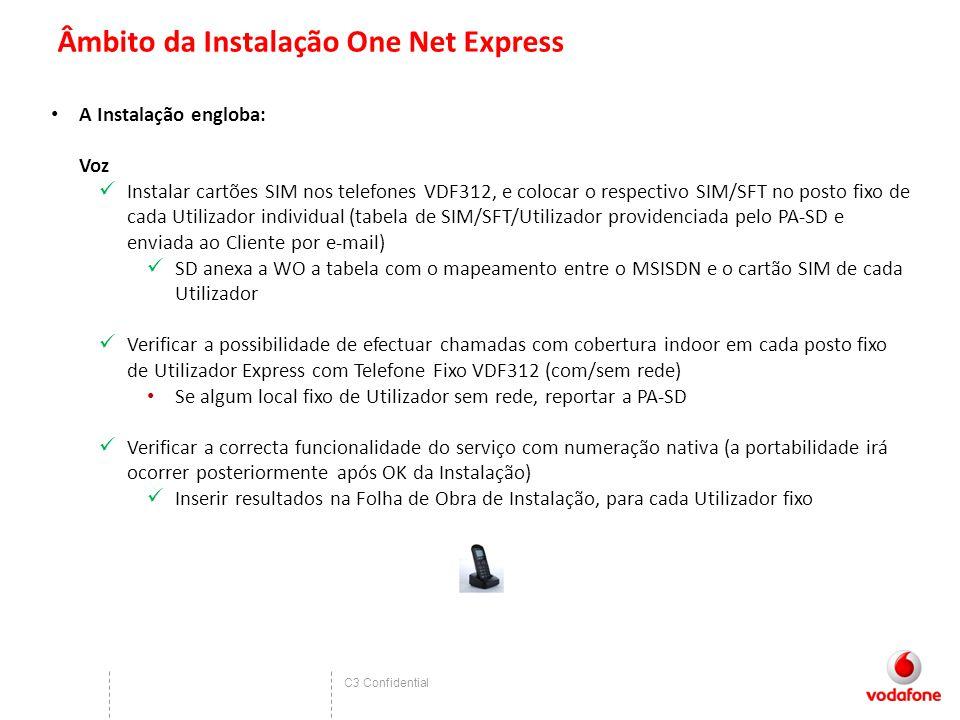 C3 Confidential Âmbito da Instalação One Net Express A Instalação engloba: Voz Instalar cartões SIM nos telefones VDF312, e colocar o respectivo SIM/S