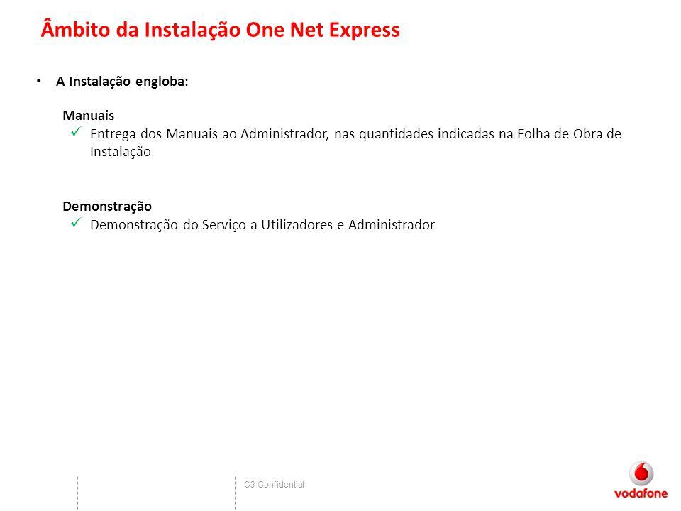 C3 Confidential Âmbito da Instalação One Net Express A Instalação engloba: Manuais Entrega dos Manuais ao Administrador, nas quantidades indicadas na