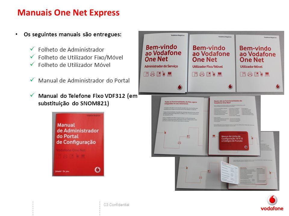 C3 Confidential Manuais One Net Express Os seguintes manuais são entregues: Folheto de Administrador Folheto de Utilizador Fixo/Móvel Folheto de Utilizador Móvel Manual de Administrador do Portal Manual do Telefone Fixo VDF312 (em substituição do SNOM821)