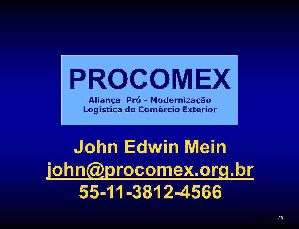 28 Plano Correios Aliança Pró - Modernização Logística do Comércio Exterior PROCOMEX John Edwin Mein john@procomex.org.br 55-11-3812-4566