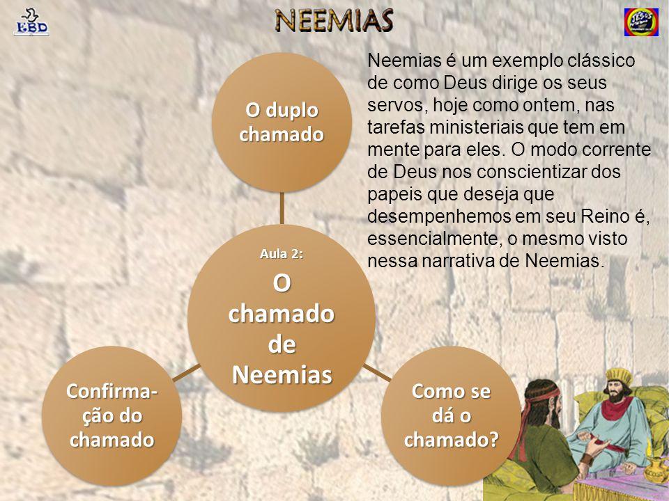Aula 2: O chamado de Neemias O duplo chamado Como se dá o chamado? Confirma- ção do chamado Neemias é um exemplo clássico de como Deus dirige os seus