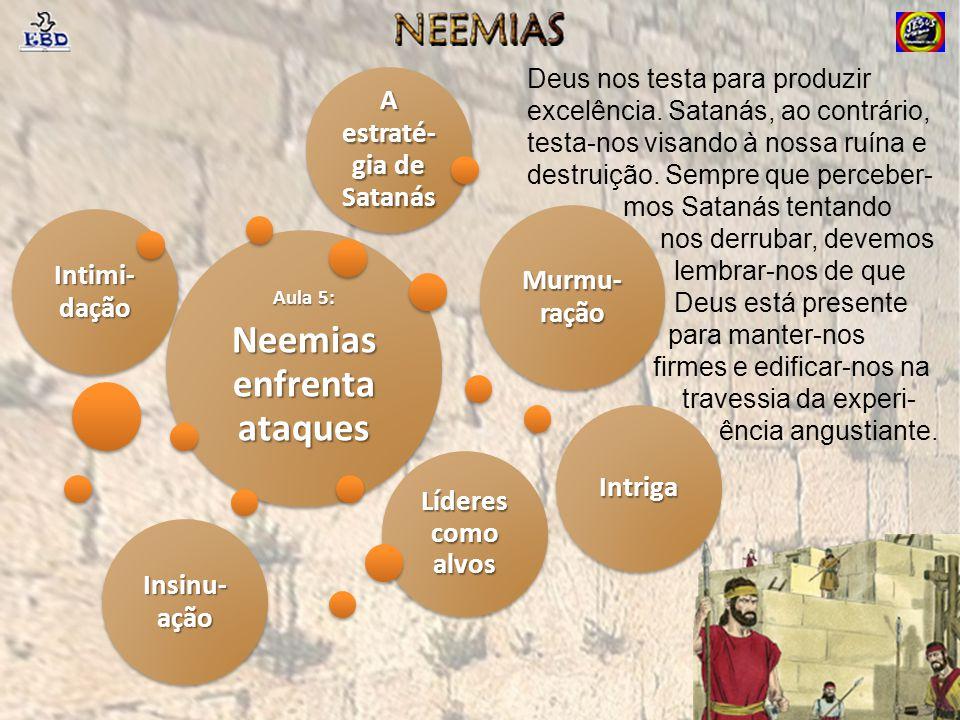 Líderes como alvos Aula 5: Neemias enfrenta ataques Intimi- dação Murmu- ração Intriga Insinu- ação A estraté- gia de Satanás Deus nos testa para prod