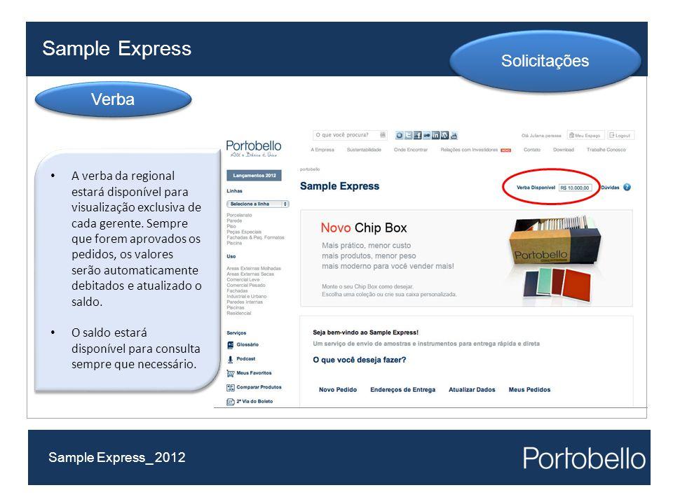 Sample Express Sample Express_ 2012 Solicitações Verba A verba da regional estará disponível para visualização exclusiva de cada gerente. Sempre que f
