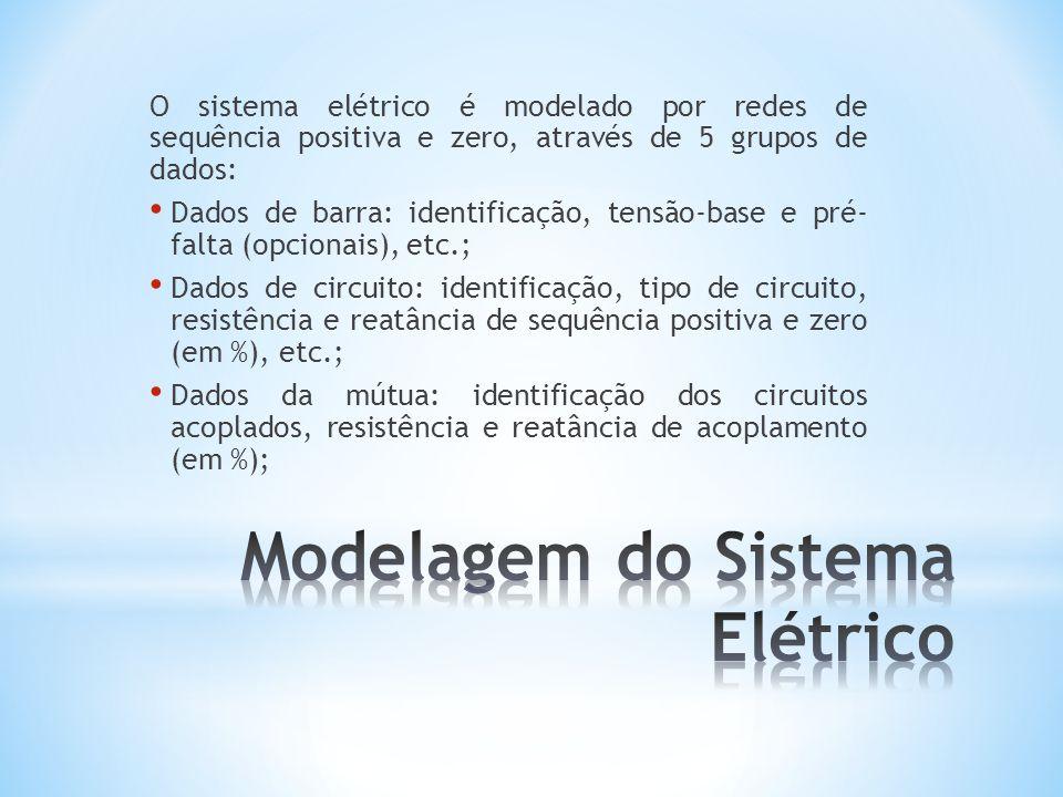 O sistema elétrico é modelado por redes de sequência positiva e zero, através de 5 grupos de dados: Dados de barra: identificação, tensão-base e pré-
