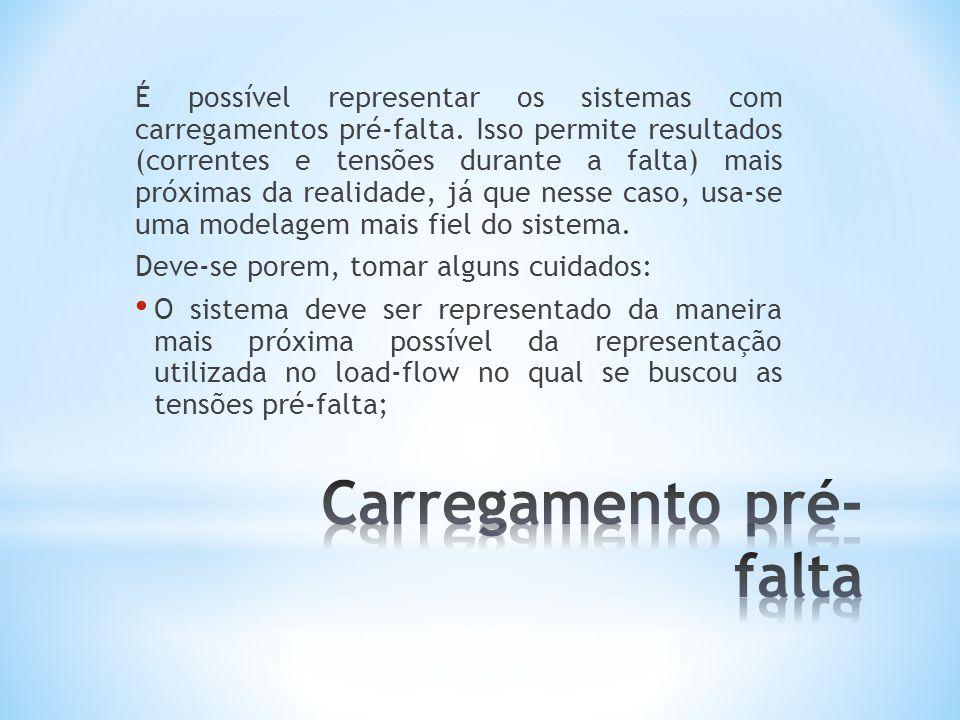 É possível representar os sistemas com carregamentos pré-falta.