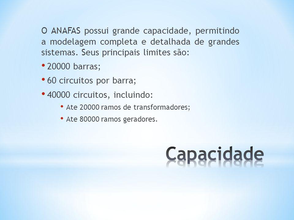 O ANAFAS possui grande capacidade, permitindo a modelagem completa e detalhada de grandes sistemas. Seus principais limites são: 20000 barras; 60 circ
