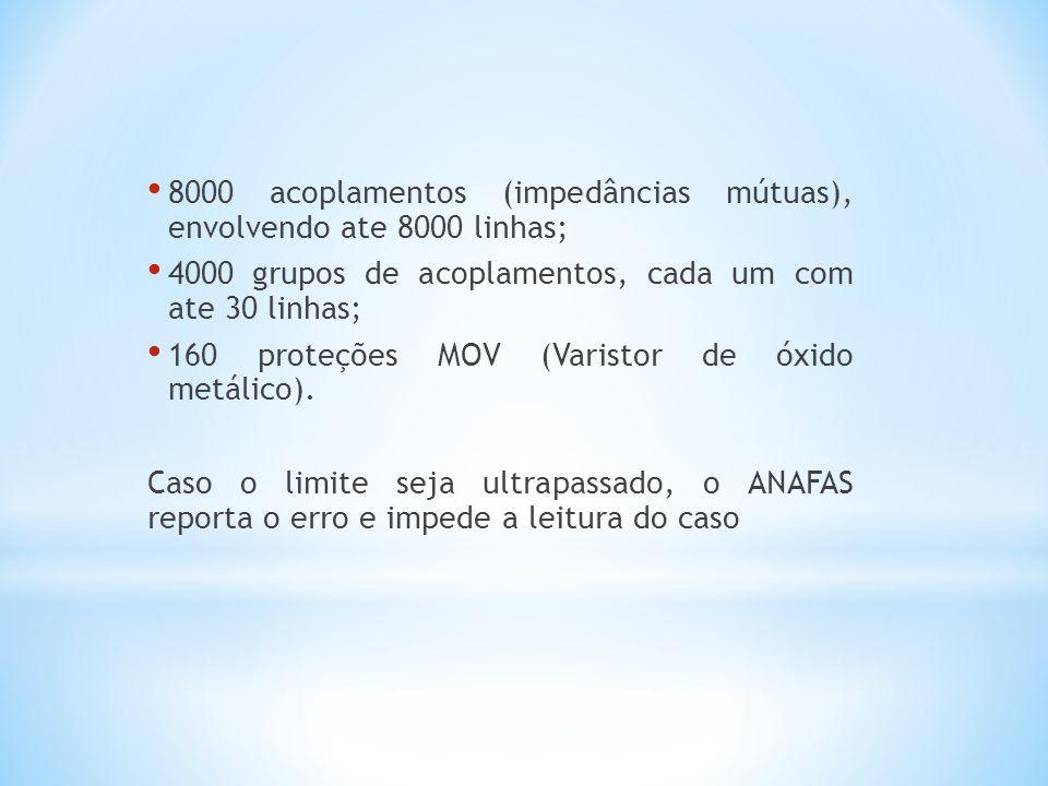 8000 acoplamentos (impedâncias mútuas), envolvendo ate 8000 linhas; 4000 grupos de acoplamentos, cada um com ate 30 linhas; 160 proteções MOV (Varisto