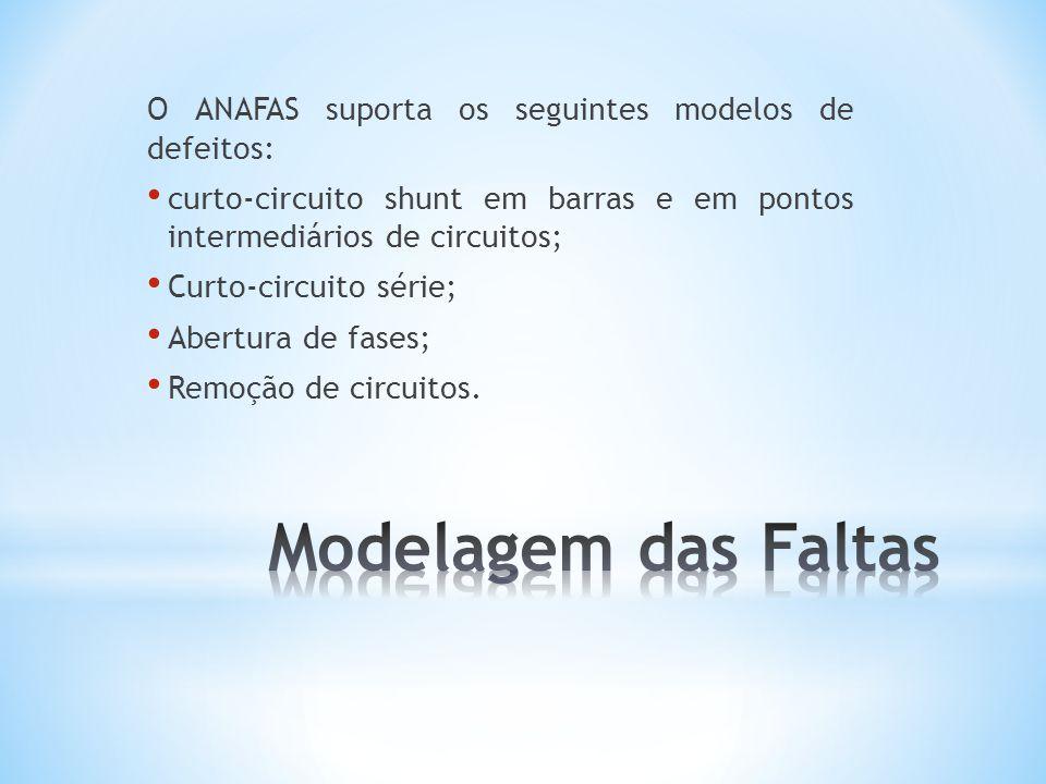 O ANAFAS suporta os seguintes modelos de defeitos: curto-circuito shunt em barras e em pontos intermediários de circuitos; Curto-circuito série; Abertura de fases; Remoção de circuitos.