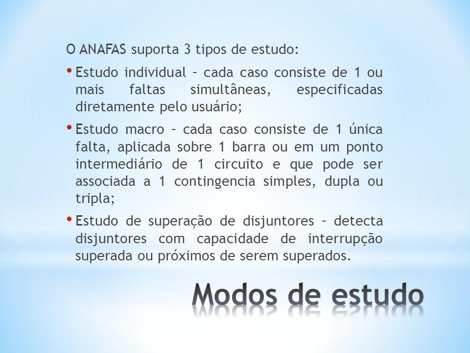 O ANAFAS suporta 3 tipos de estudo: Estudo individual – cada caso consiste de 1 ou mais faltas simultâneas, especificadas diretamente pelo usuário; Es