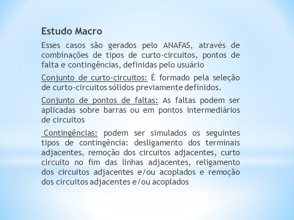 Estudo Macro Esses casos são gerados pelo ANAFAS, através de combinações de tipos de curto-circuitos, pontos de falta e contingências, definidas pelo usuário Conjunto de curto-circuitos: É formado pela seleção de curto-circuitos sólidos previamente definidos.