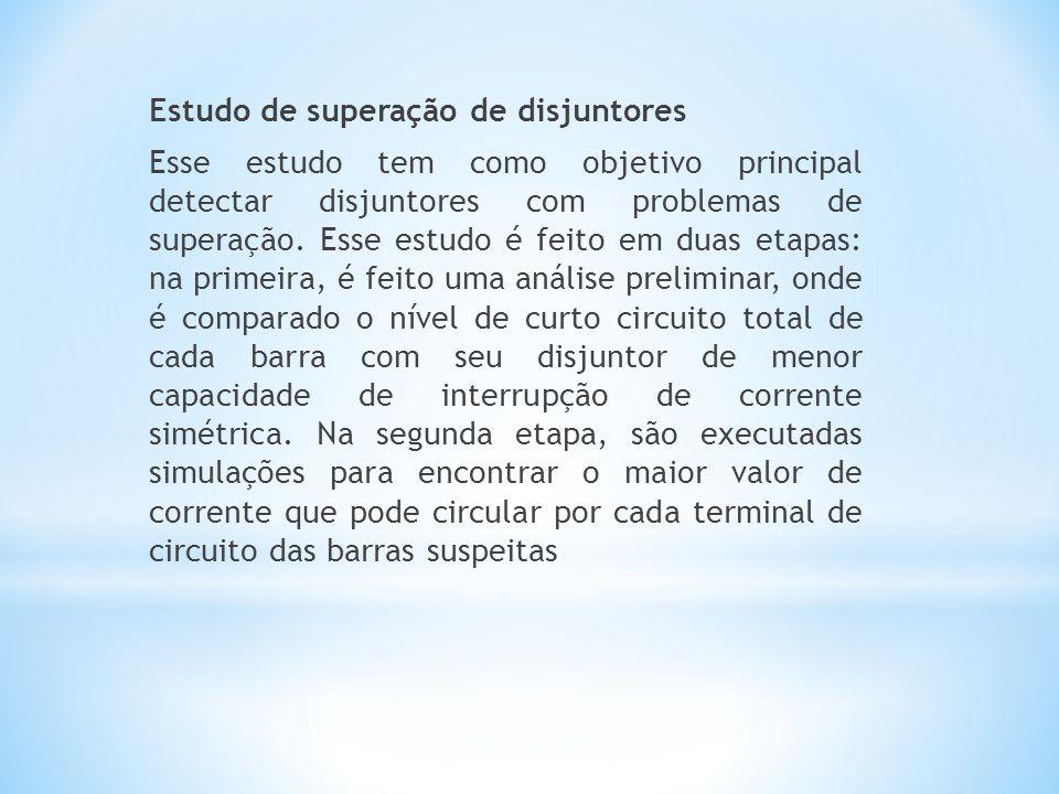 Estudo de superação de disjuntores Esse estudo tem como objetivo principal detectar disjuntores com problemas de superação.